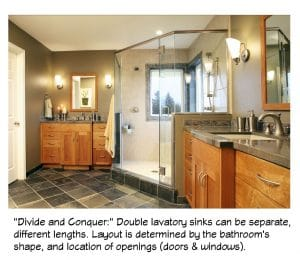 Two master bathroom sinks can be located anywhere to fit the room